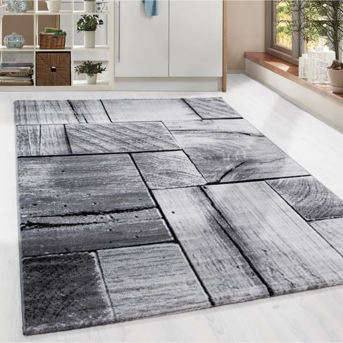 Design contemporain Structure en bois Tapis Pile courte Salon Noir ...