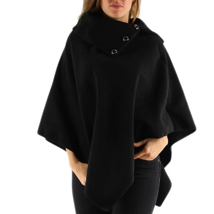 cape poncho veste pardessus noir uni femme noir achat vente manteau caban 2009954317910. Black Bedroom Furniture Sets. Home Design Ideas