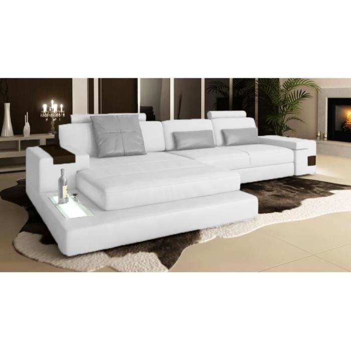 canap d 39 angle en cuir italien blanc avignon achat vente canap sofa divan cuir. Black Bedroom Furniture Sets. Home Design Ideas