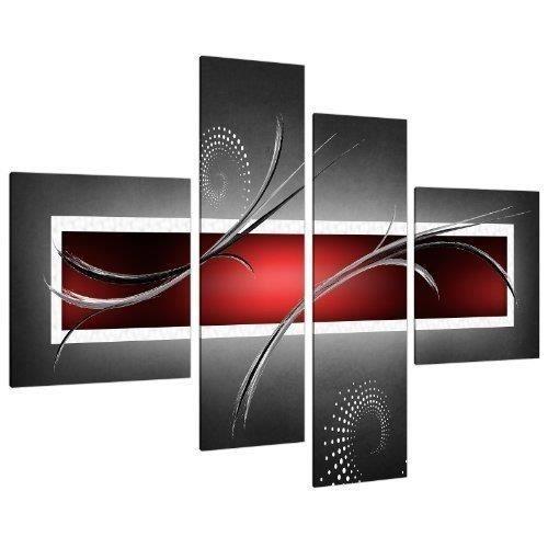 TABLEAU - TOILE Impression Tableau Sur Toile Abstrait Rouge Noir e