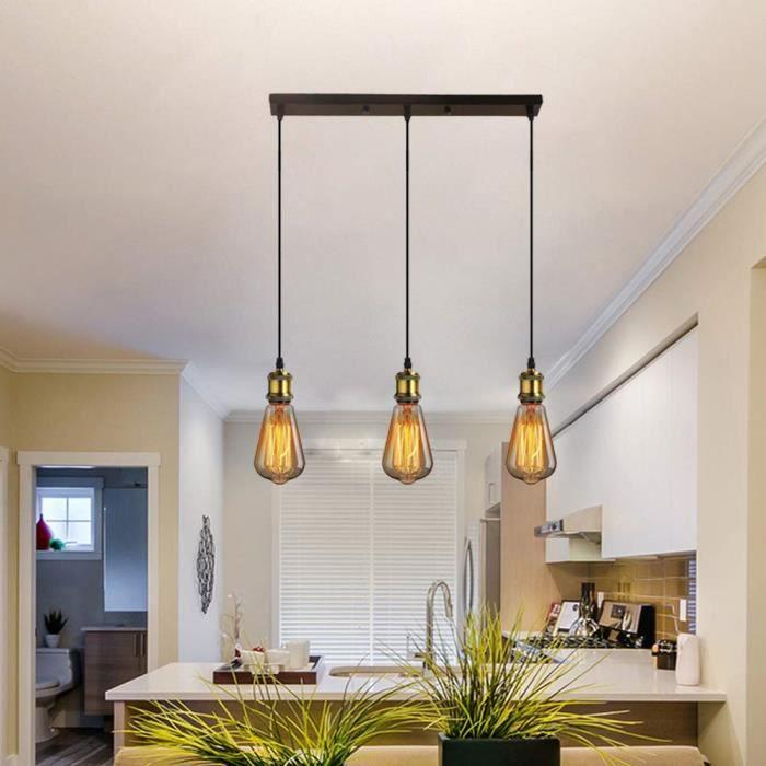 Suspension Luminaire E27 Douille 3 Lampes Industrielle Plafonnier