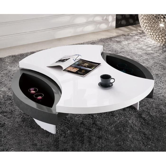 Table basse design ronde priam plateau pivota achat for 2 table basse ronde