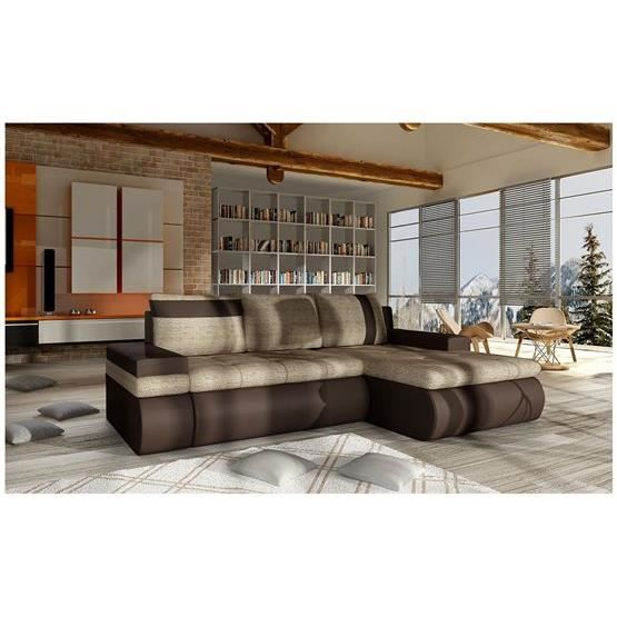 canap d 39 angle convertible dewa mini beige et chocolat angle droit achat vente canap sofa. Black Bedroom Furniture Sets. Home Design Ideas