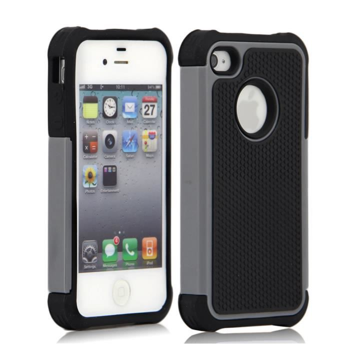 Etui housse coque anti choc iphone 4 4s film gris achat for Etui housse iphone 4