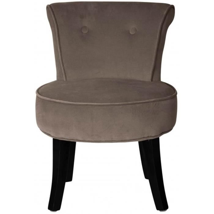 petit fauteuil crapaud velours taupe louis achat vente fauteuil marron cdiscount. Black Bedroom Furniture Sets. Home Design Ideas