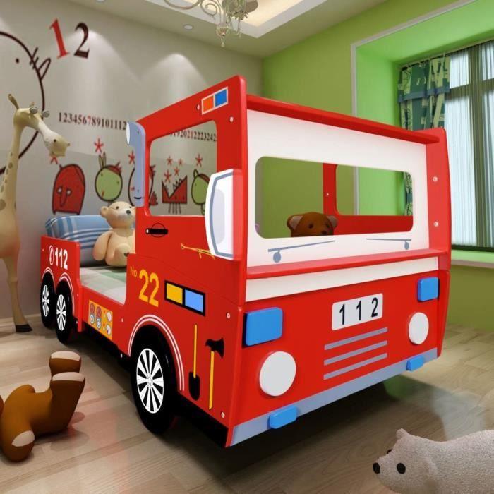 STRUCTURE DE LIT Lit camion de pompier lit enfant avec matelas 200