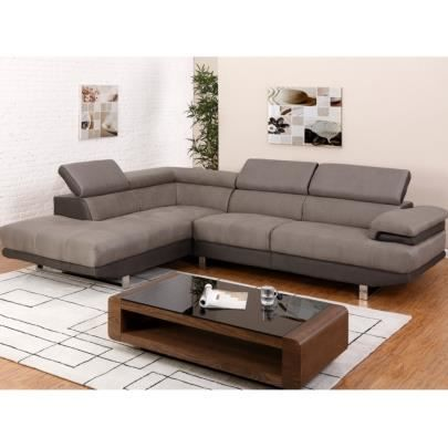 canap d 39 angle en tissu meloul bicolore taupe achat vente canap sofa divan cdiscount. Black Bedroom Furniture Sets. Home Design Ideas