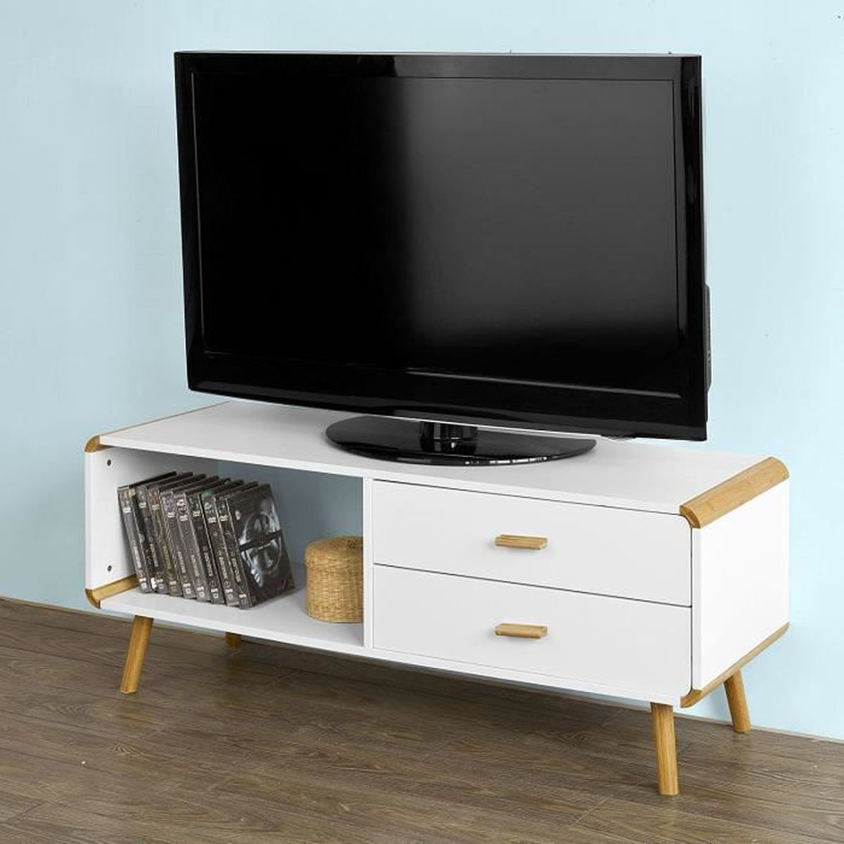 meuble banc tv bas commode armoire de rangement l120cm. Black Bedroom Furniture Sets. Home Design Ideas