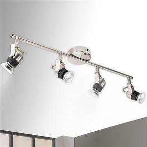 Plafonnier luminaire Rampe en Acier bross/é 4 Spots orientables 4 x 35 W culot GU 5.3 Xelux
