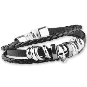 biker Acier inoxydable-bracelet plat chars chaîne avec sourire tete de mort