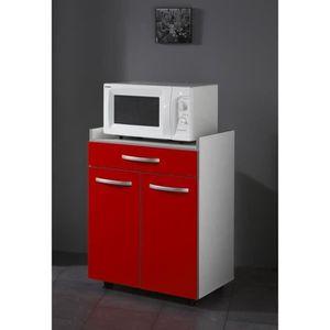 DESSERTE - BILLOT HARMONY Meuble bas micro-ondes L 60 cm - Rouge mat