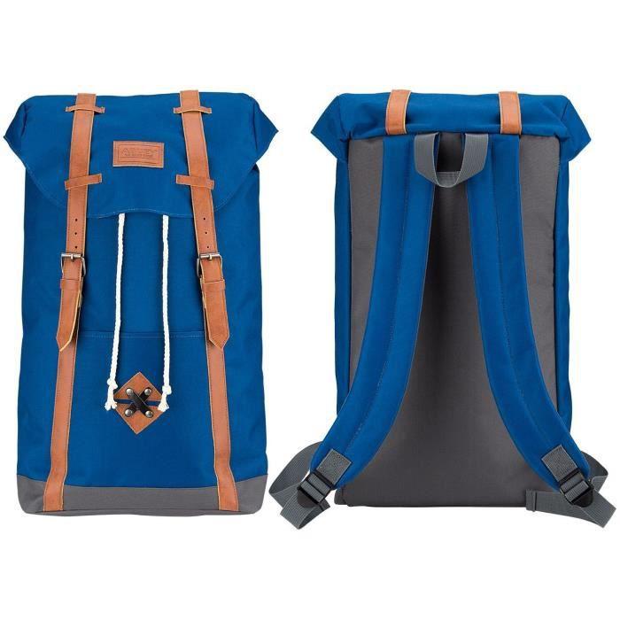 ABBEY Sac à dos scolaire - Fermeture aimantée - Cuir PU look vintage - 100% Polyester 300x300D - Bleu