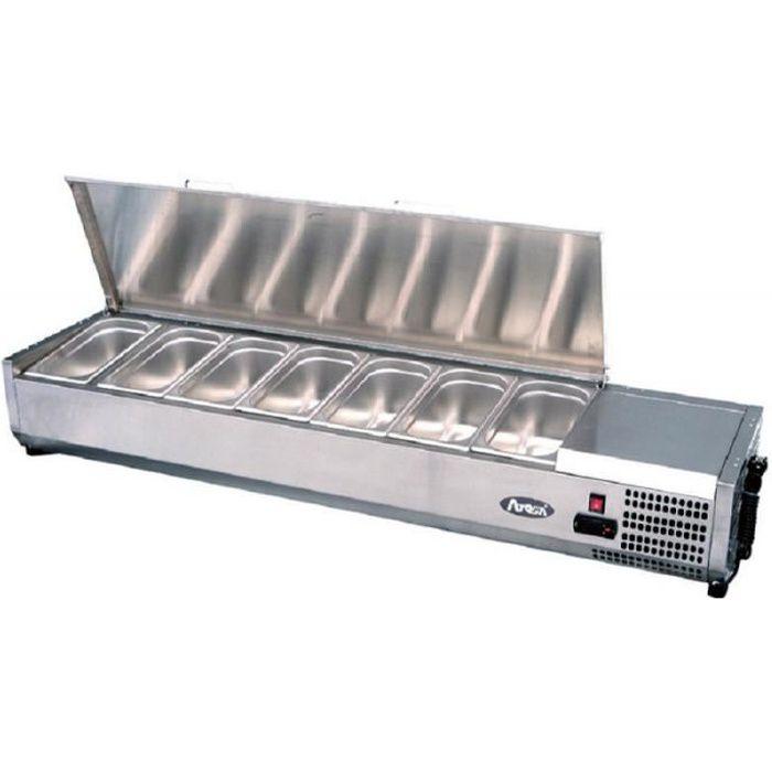 Saladette Réfrigérée à Poser Couvercle Inox Bacs GN 1/4 - 1200 à 2000 mm - Atosa - R600A 1200 mm