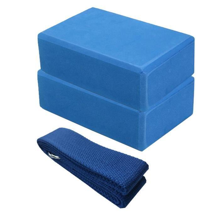 Lot de 2 blocs de yoga et ensemble de sangles de yoga avec anneau en D Brique de yoga en mousse EVA haute densité FWT200429001BU