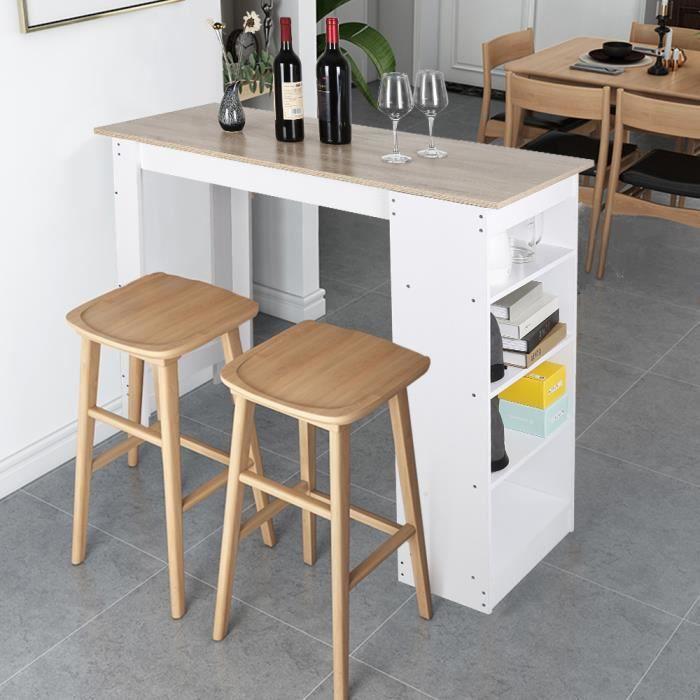 Table Bar Avec Rangements Panneaux de Particules Melamines 115*50*103CM - Blanc/Chêne