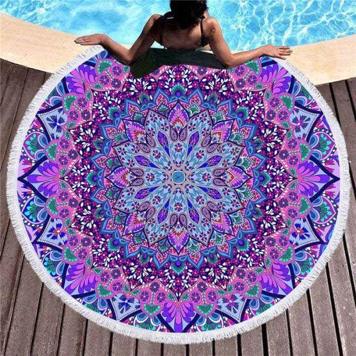 150cm Mandala imprimé grande serviette de plage ronde pour adulte microfibre été serviette de bain absorbant doux