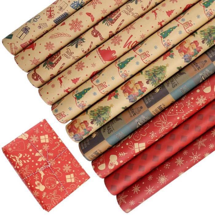 Papier d'emballage 5 Rouleaux Papier Cadeau pour Thanksgiving, Anniversaire, Noël Cadeau Emballé, Anniversaire, Noël Cadeau Emballé