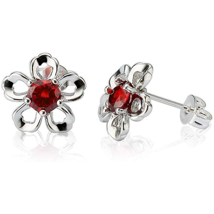 BOUCLE D OREILLE ELEGANCE PARISIENNE Boucles d'oreilles tendance plaqu&eacutees or 18 carats Rouge Fleur Swarovski Elements pou468