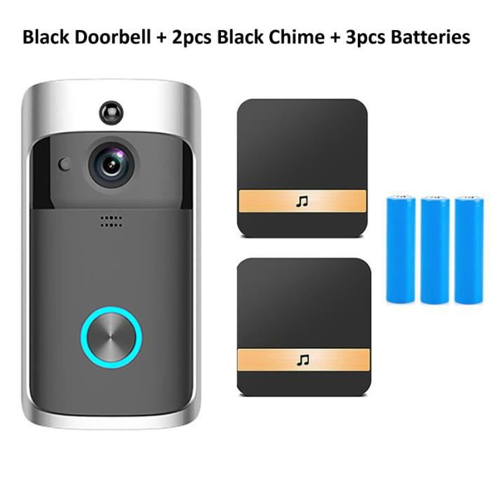 Wsdcam – Sonnette connectée sans fil, Wi-Fi, avec caméra de sécurité, interphone/visiophone pour porte d'appartement et maison, télé