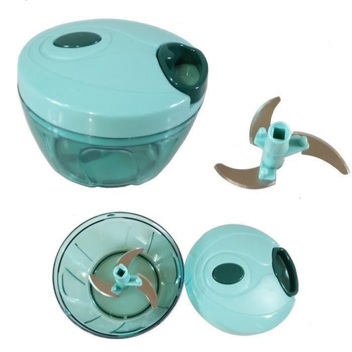 Hachoir manuel alimentaire tenu a la main pour hacher les fruits, legumes et ainsi de suite vert &amp bleu An07306
