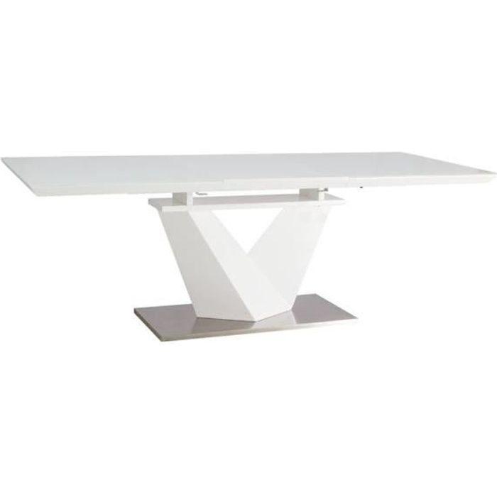 ALANAS - Table extensible salle à manger - 160x90x75 cm - Plateau MDF laqué/verre trempé - Cadre: acier/MDF - Blanc