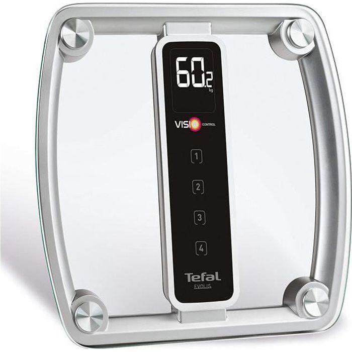 Tefal PP5150V1 Pèse-Personne Electronique Evolis - Visio Control Concept : Suivi Evolution du Poids - 4 Profils Mémorisables - Ve