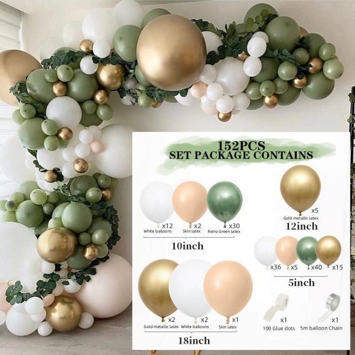 ballongonflable Ensemble de ballons verts en pate de haricots rouges de couleur rétro Ensemble de ballons vert olive décor223518