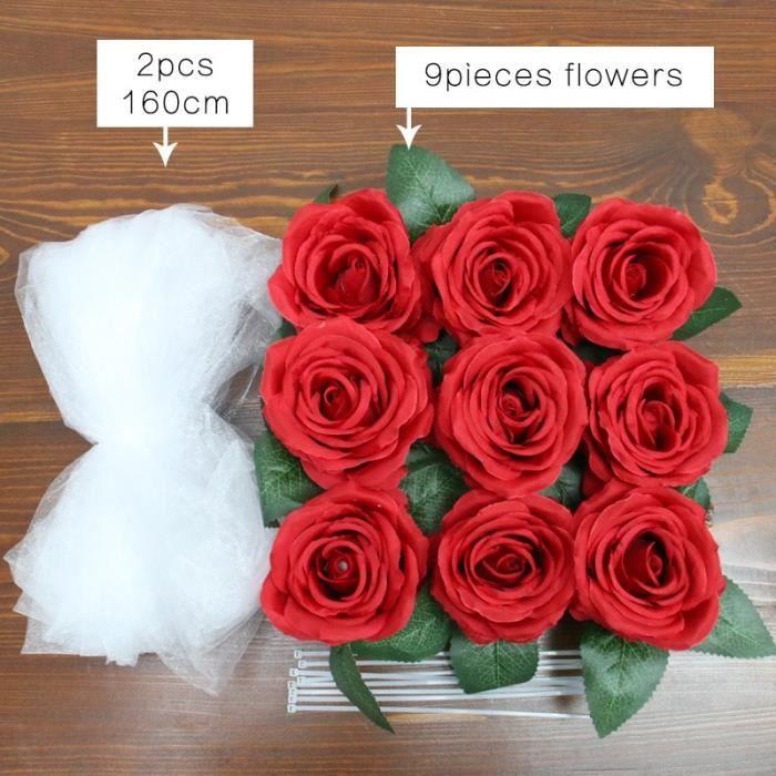Décoration florale,Fleur artificielle blanche bricolage,décoration de voiture de mariée,rubans de poignée de porte - Type 9 pcs red