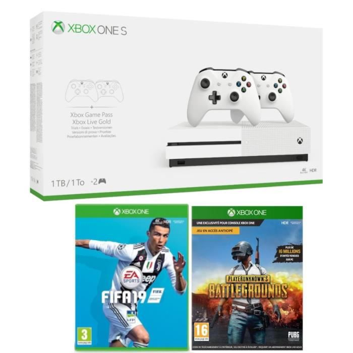 Xbox One S 1 To + 2 manettes + Fifa 19 + PUBG