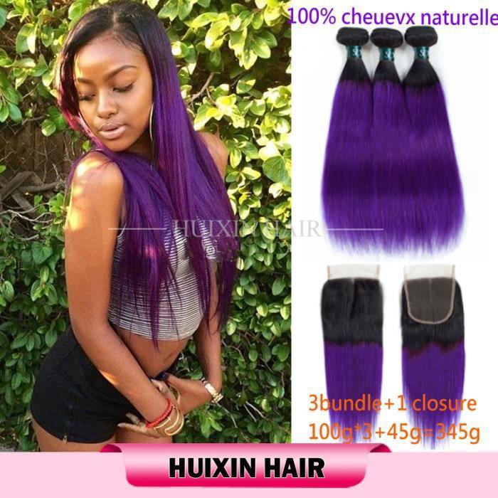 3 tissage mèche couleur brésilienne indienne 1b-violet lisse cheveux avec 4x4 closure 14.16.18-+10pouces