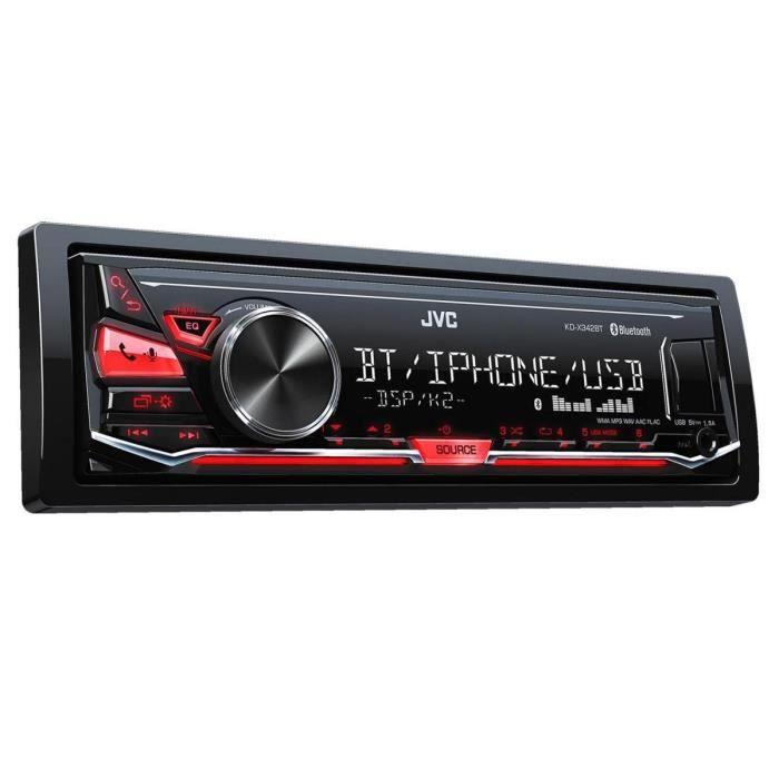 JVC KD-X342BT Autoradio numérique Compatible avec iPod-iPhone-Android, Rouge