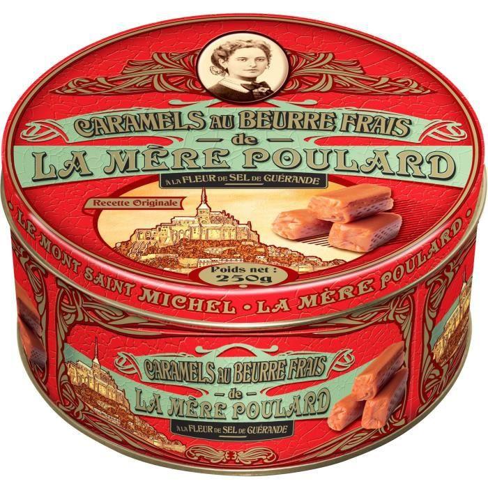 Biscuiterie la Mère Poulard Boite Fer Caramels au Beurre Salé (Rouge) 250g