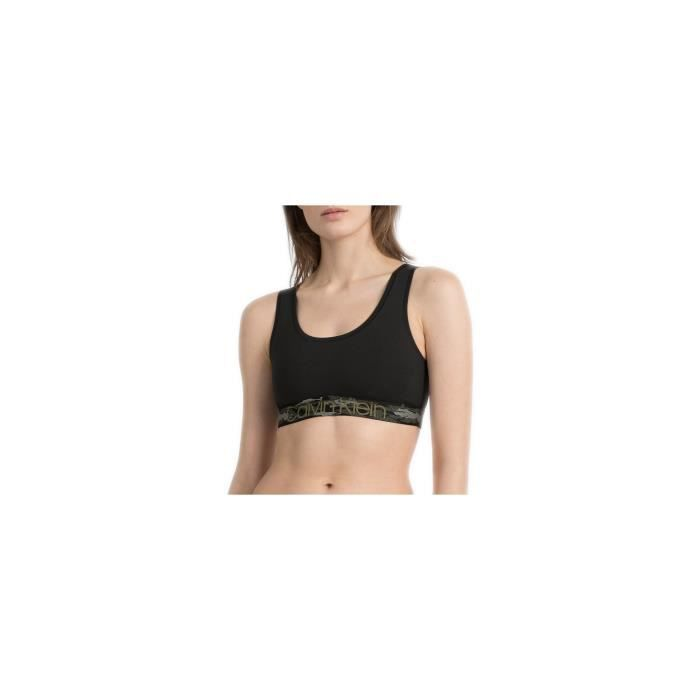 Brassière Calvin Klein noire et camouflage pour femme - Couleur: Noir - Taille: L