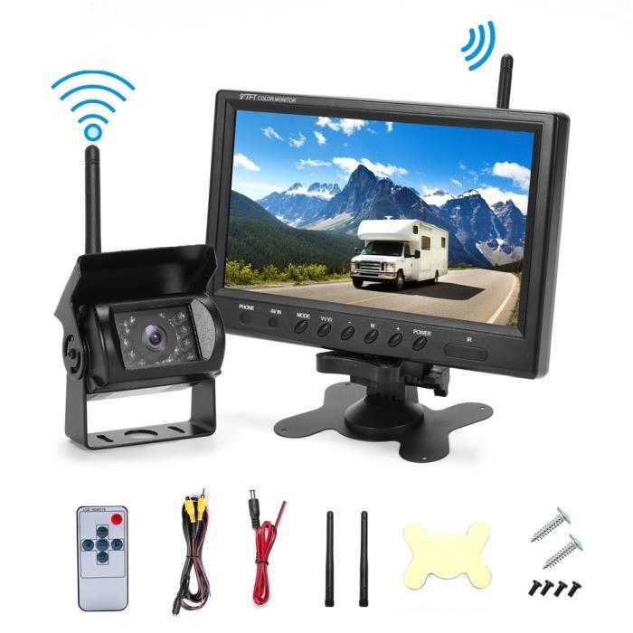 Prumya Caméra de Recul sans fil 9 Pouces 12V - 24V haute définition Vision nocturne étanche pour Bus , remorque , fourgonnette , Cam