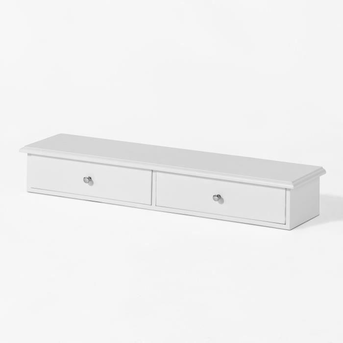 SoBuy® FRG43-W Meuble d'entrée de Rangement, Étagère Murale 2 tiroirs, Armoire à clés, Porte-clés