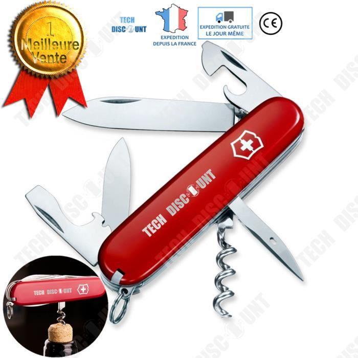 TD® Couteau suisse cuisine multifonction militaire de poche pliant automatique ouvre bouteille lame tournevis décapsuleur porte clé