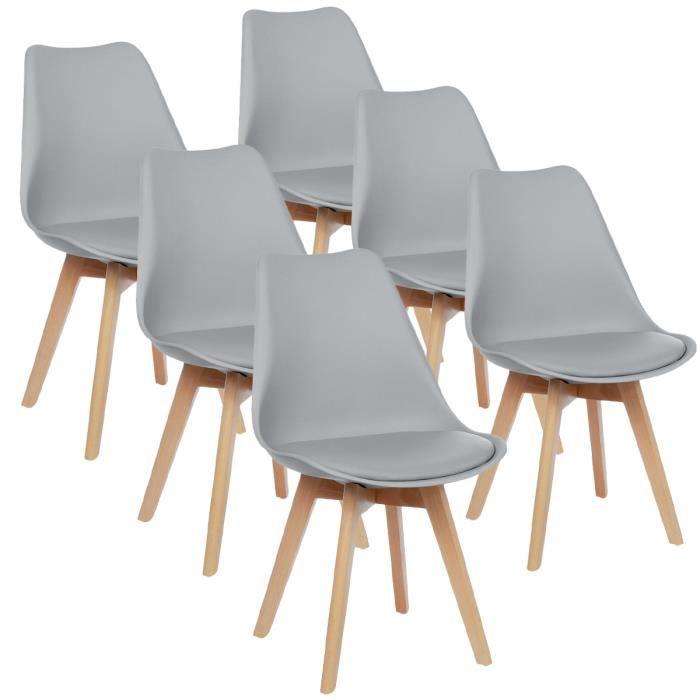Lot de 6 Chaises - Scandinave - Pieds en bois - Avec Coussin Gris