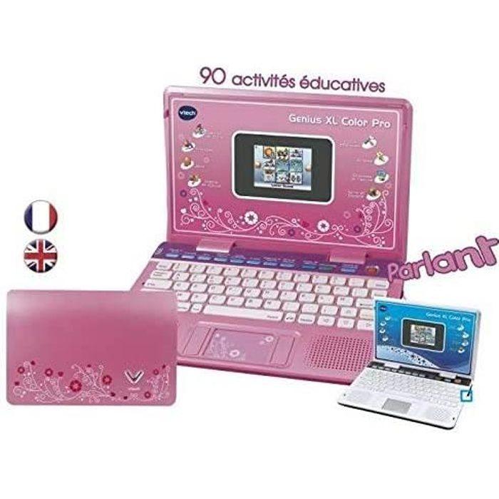 mini ordinateur portable avec 90 activités pour enfant Genius Xl Color Pro rose