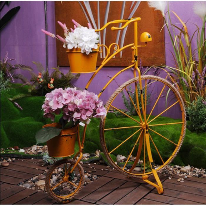 Rétro Vélo Jardinière Pot de fleur Bac à Fleur Décoration d\'extérieur Pour  Jardin, Cour,Jaune