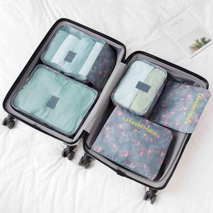 Gris Eazeehome 7pcs Organisateur de Bagage de Sac Voyage Emballage Cubes Rangement pour V/êtement sous-V/êtement Chaussures Cosm/étique
