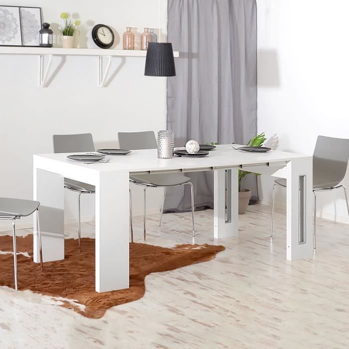 Table Extensible Table Salle A Manger Roma 80 Cm Blanc Mat