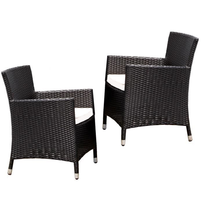 lot de 2 fauteuils de jardin en r sine tress e noir achat vente fauteuil jardin lot de 2. Black Bedroom Furniture Sets. Home Design Ideas