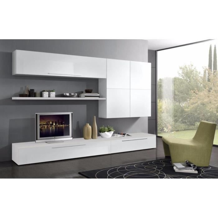 composition murale tv design primavera blanche achat. Black Bedroom Furniture Sets. Home Design Ideas