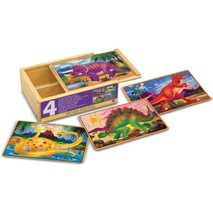 PUZZLE MELISSA & DOUG - 4 Puzzles En Bois - Dinosaures
