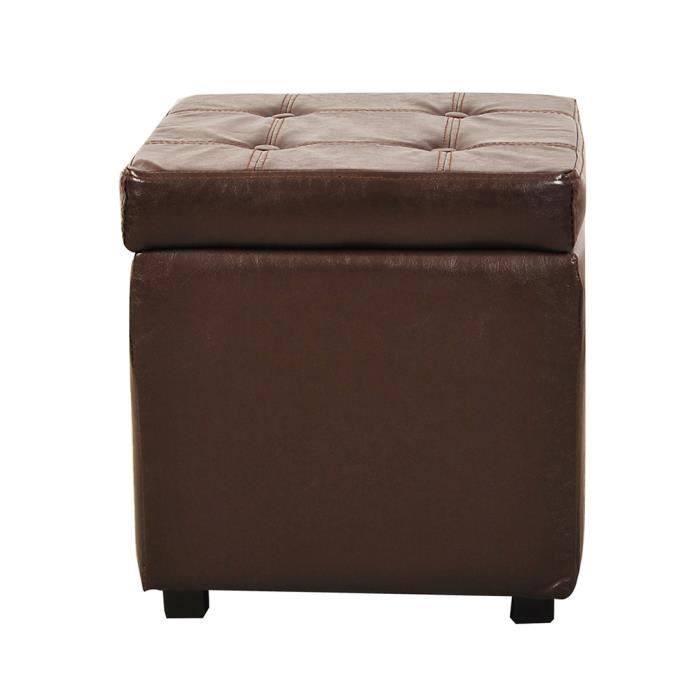 pouf cube cube coffre de rangement marron chocolat achat vente pouf poire simili m tal. Black Bedroom Furniture Sets. Home Design Ideas
