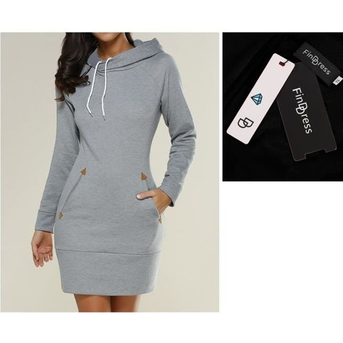 Discreet Dorit Robe Pull Femme Manches Longues Sweat Pull Sweats, Vestes à Capuches
