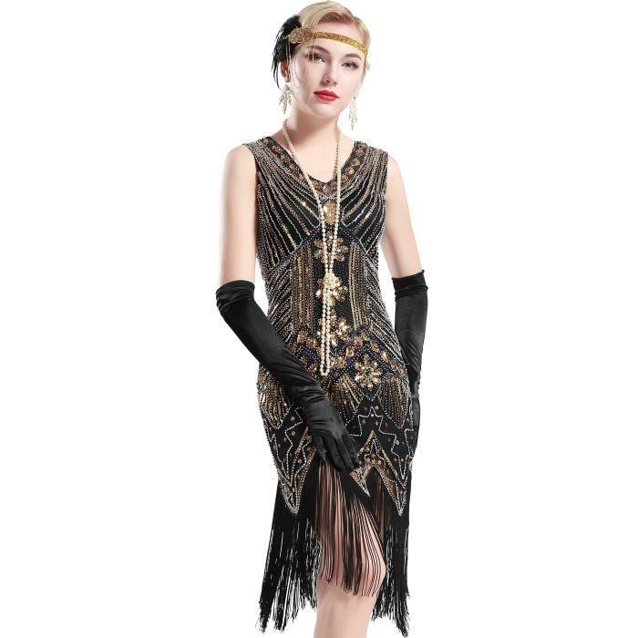 Robe Flapper Robes Annees 1920 Femmes Col En V Perles Frangee Gatsby Le Magnifique Ajlut Taille 38 Or Achat Vente Robe Bientot Le Black Friday Cdiscount