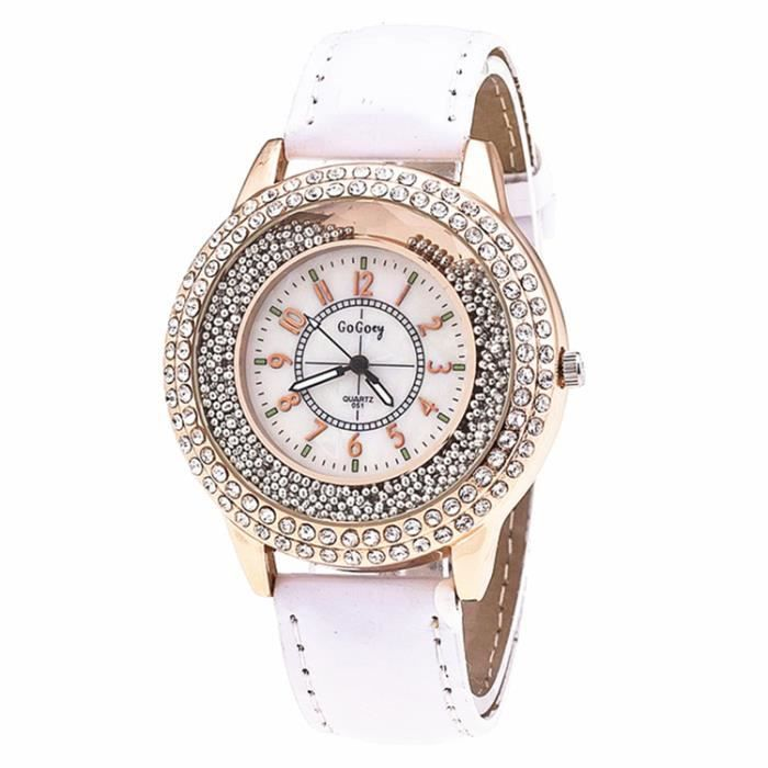 sharphy montre femme de marque haut de luxe diamant quartz analogique bracelet blanc jolie et. Black Bedroom Furniture Sets. Home Design Ideas