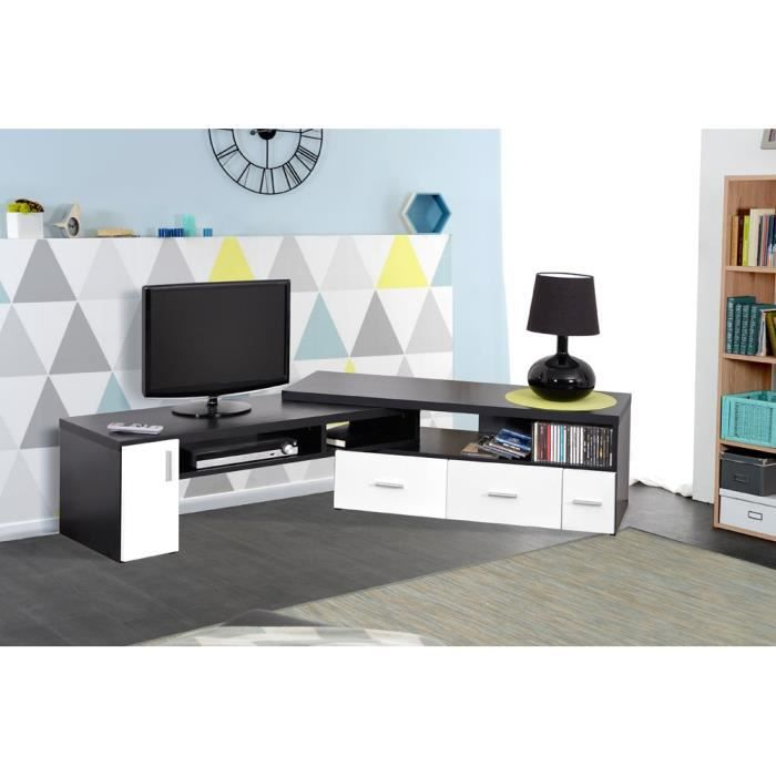 slide meuble tv contemporain poign es en aluminium d cor m lamin blanc et noir mat l 111 189. Black Bedroom Furniture Sets. Home Design Ideas