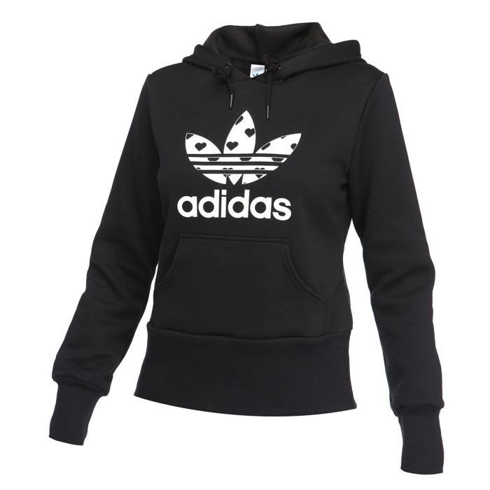 adidas originals sweat capuche trefoil femme noir et blanc achat vente sweatshirt cdiscount. Black Bedroom Furniture Sets. Home Design Ideas